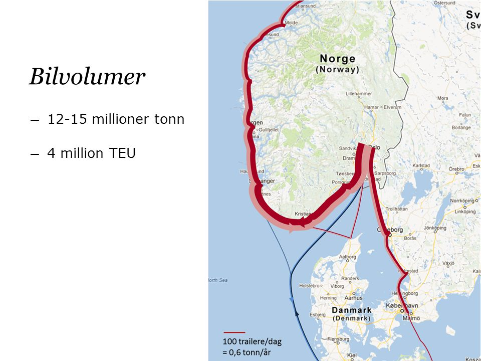 Bilvolumer ― 12-15 millioner tonn ― 4 million TEU