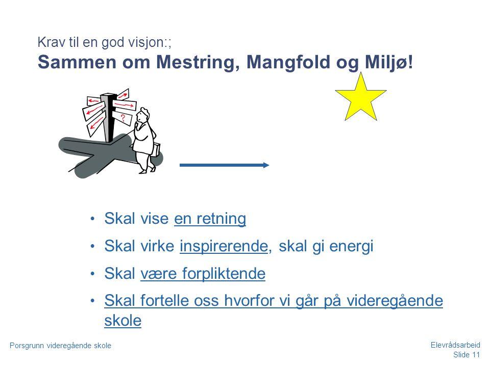 Slide 11 Porsgrunn videregående skole Elevrådsarbeid Krav til en god visjon:; Sammen om Mestring, Mangfold og Miljø! • Skal vise en retning • Skal vir