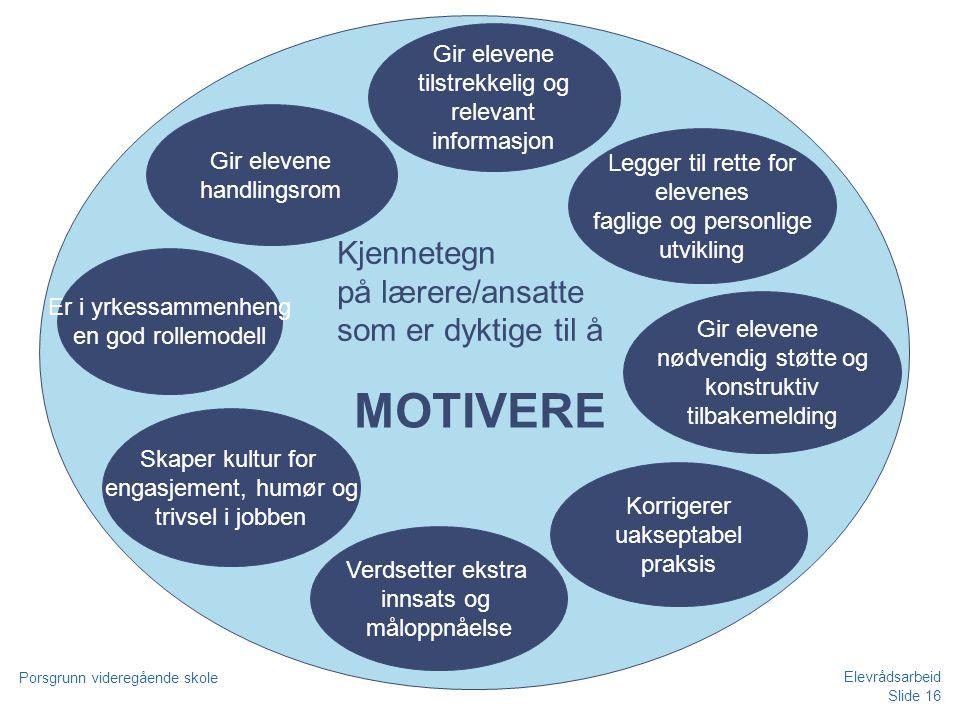 Slide 16 Porsgrunn videregående skole Elevrådsarbeid MOTIVERE Verdsetter ekstra innsats og måloppnåelse Gir elevene nødvendig støtte og konstruktiv ti