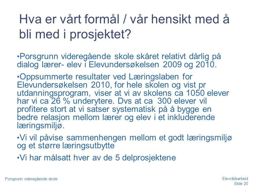 Slide 20 Porsgrunn videregående skole Elevrådsarbeid Hva er vårt formål / vår hensikt med å bli med i prosjektet? • Porsgrunn videregående skole skåre