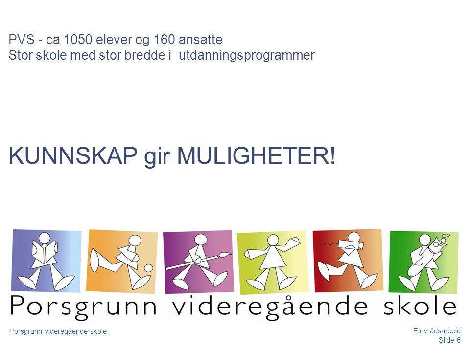Slide 6 Porsgrunn videregående skole Elevrådsarbeid PVS - ca 1050 elever og 160 ansatte Stor skole med stor bredde i utdanningsprogrammer KUNNSKAP gir