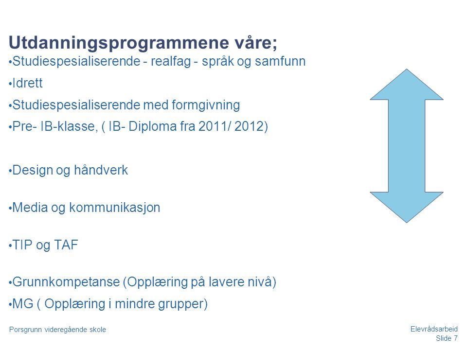 Slide 7 Porsgrunn videregående skole Elevrådsarbeid Utdanningsprogrammene våre; • Studiespesialiserende - realfag - språk og samfunn • Idrett • Studie