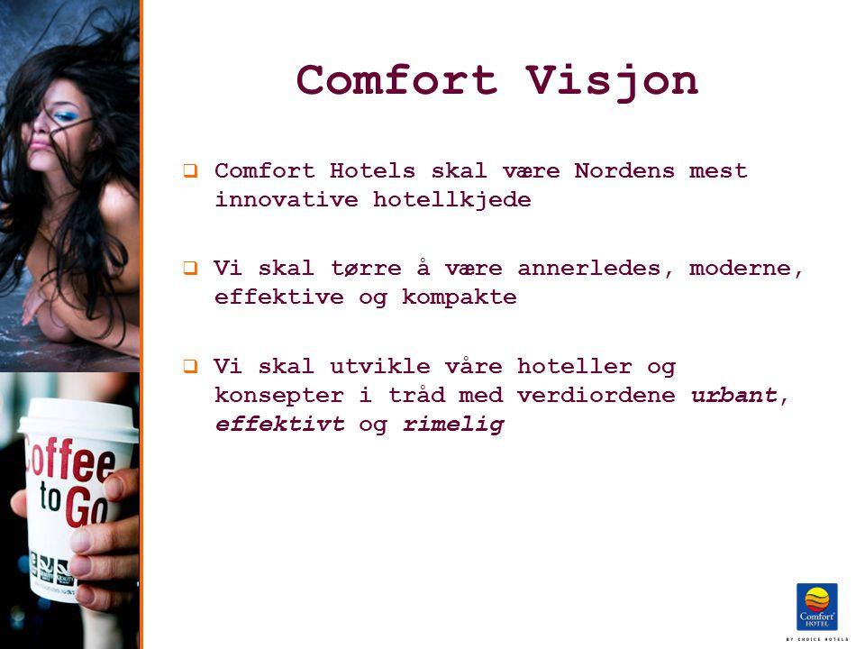 Comfort Visjon  Comfort Hotels skal være Nordens mest innovative hotellkjede  Vi skal tørre å være annerledes, moderne, effektive og kompakte  Vi skal utvikle våre hoteller og konsepter i tråd med verdiordene urbant, effektivt og rimelig
