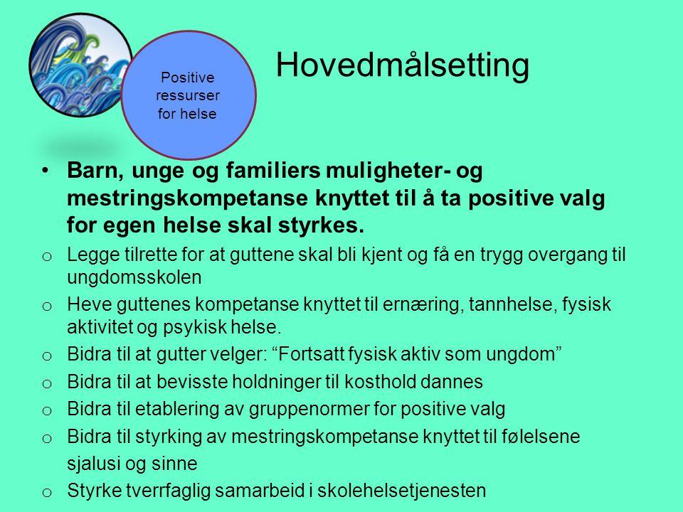 Hovedmålsetting •Barn, unge og familiers muligheter- og mestringskompetanse knyttet til å ta positive valg for egen helse skal styrkes. o Legge tilret