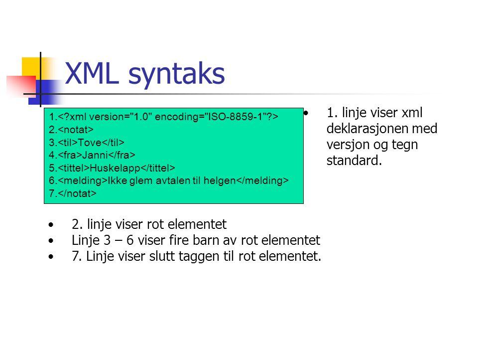 XML syntaks 1. 2. 3. Tove 4. Janni 5. Huskelapp 6. Ikke glem avtalen til helgen 7. •1. linje viser xml deklarasjonen med versjon og tegn standard. •2.