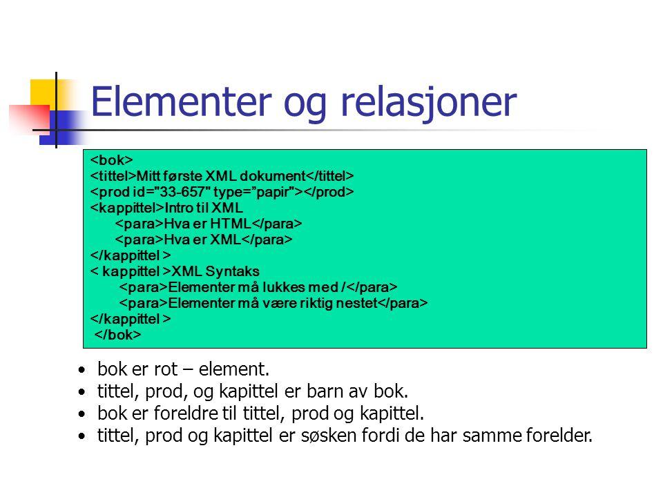 Elementer og relasjoner Mitt første XML dokument Intro til XML Hva er HTML Hva er XML XML Syntaks Elementer må lukkes med / Elementer må være riktig n