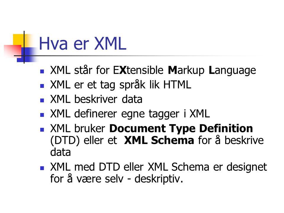 Hva er XML  XML står for EXtensible Markup Language  XML er et tag språk lik HTML  XML beskriver data  XML definerer egne tagger i XML  XML bruke