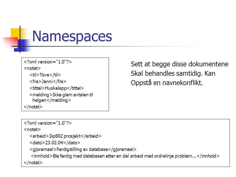 Namespaces Tove Janni Huskelapp Ikke glem avtalen til helgen 3ip802 prosjekt 23.02.04 Ferdigstilling av database Ble ferdig med databasen etter en del