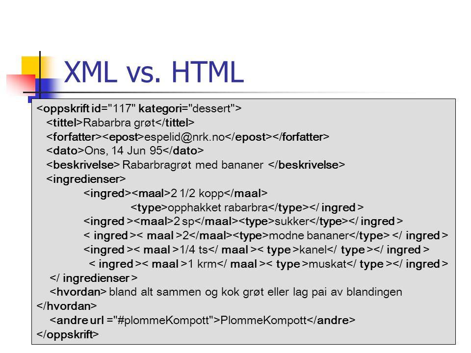 XML vs. HTML Rabarbra grøt espelid@nrk.no Ons, 14 Jun 95 Rabarbragrøt med bananer 2 1/2 kopp opphakket rabarbra 2 sp sukker 2 modne bananer 1/4 ts kan