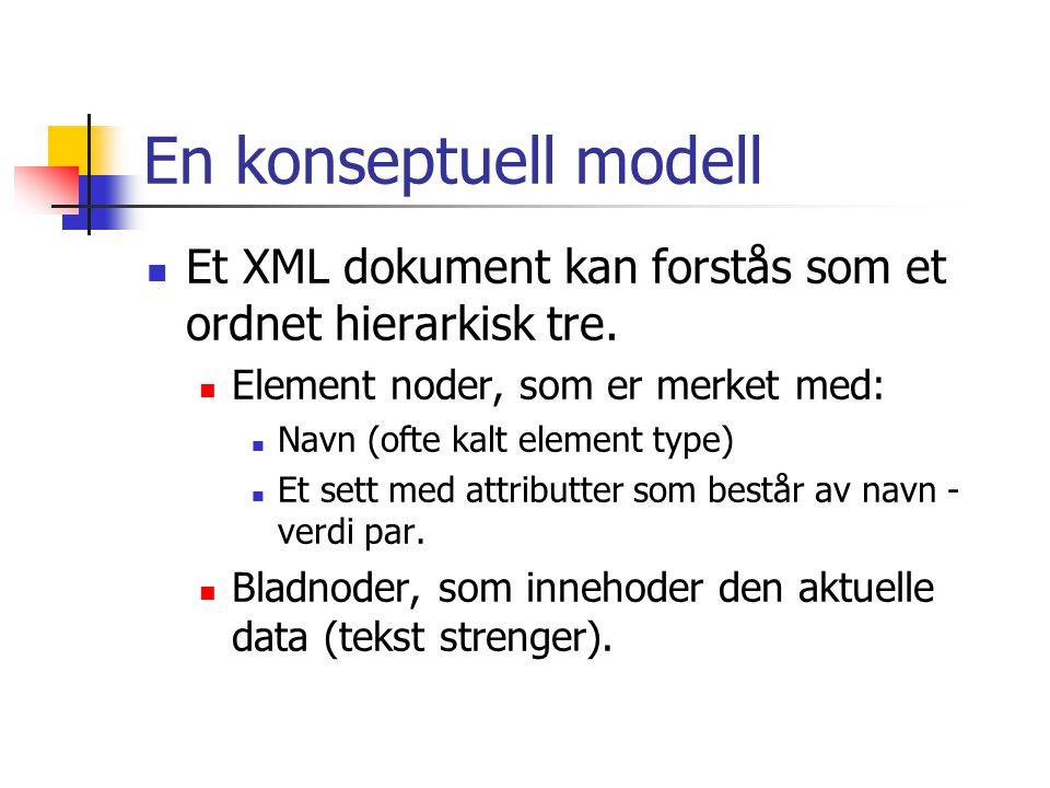En konseptuell modell  Et XML dokument kan forstås som et ordnet hierarkisk tre.  Element noder, som er merket med:  Navn (ofte kalt element type)