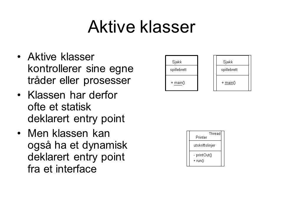Aktive klasser •Aktive klasser kontrollerer sine egne tråder eller prosesser •Klassen har derfor ofte et statisk deklarert entry point •Men klassen ka