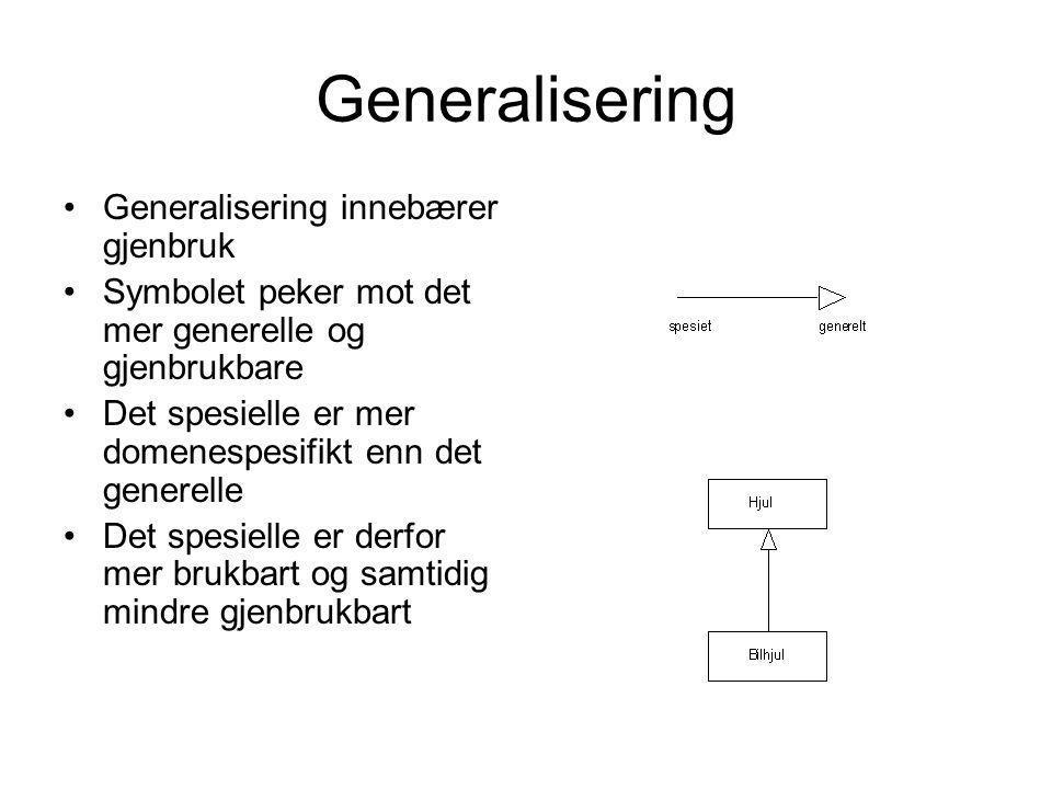 Generalisering •Generalisering innebærer gjenbruk •Symbolet peker mot det mer generelle og gjenbrukbare •Det spesielle er mer domenespesifikt enn det