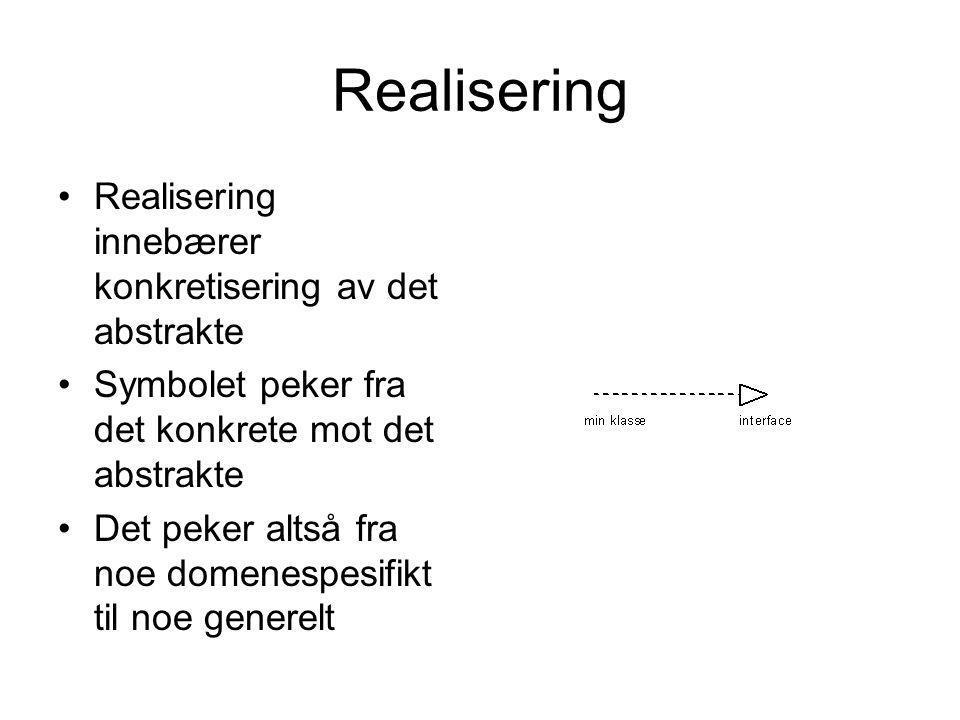 Realisering •Realisering innebærer konkretisering av det abstrakte •Symbolet peker fra det konkrete mot det abstrakte •Det peker altså fra noe domenes