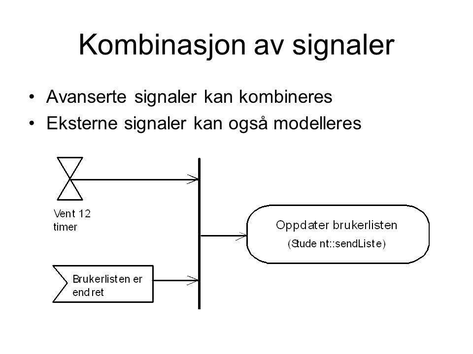 Kombinasjon av signaler •Avanserte signaler kan kombineres •Eksterne signaler kan også modelleres