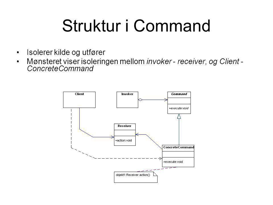 Struktur i Command •Isolerer kilde og utfører •Mønsteret viser isoleringen mellom invoker - receiver, og Client - ConcreteCommand