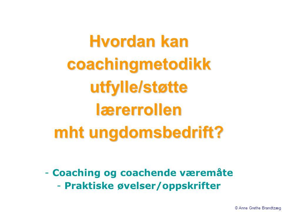 Hvordan kan coachingmetodikk utfylle/støtte lærerrollen mht ungdomsbedrift? - Coaching og coachende væremåte - Praktiske øvelser/oppskrifter © Anne Gr