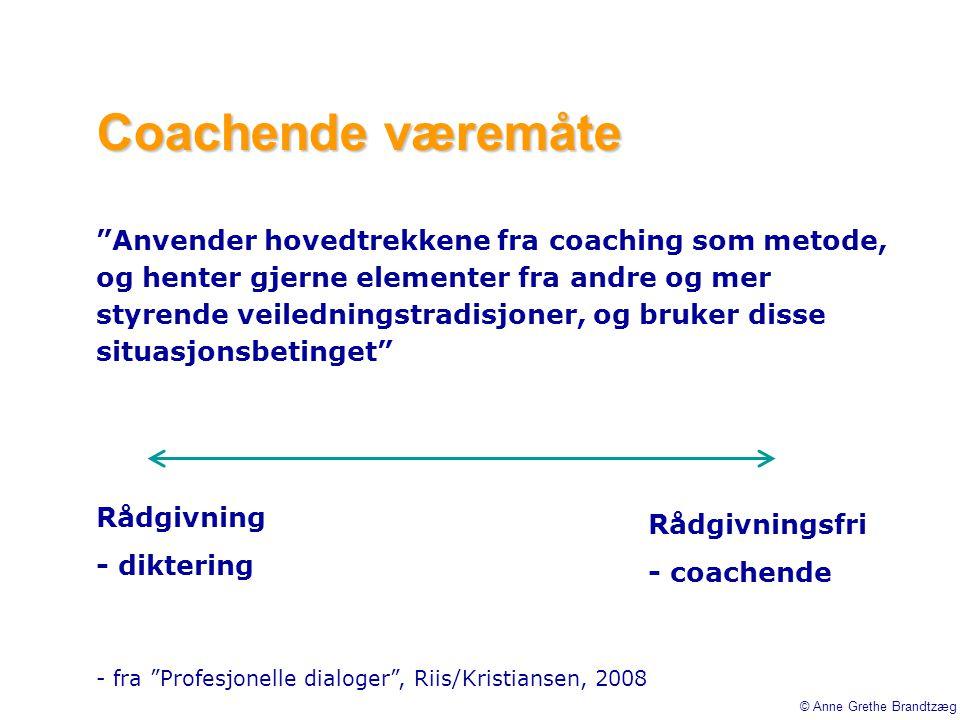 """Coachende væremåte """"Anvender hovedtrekkene fra coaching som metode, og henter gjerne elementer fra andre og mer styrende veiledningstradisjoner, og br"""