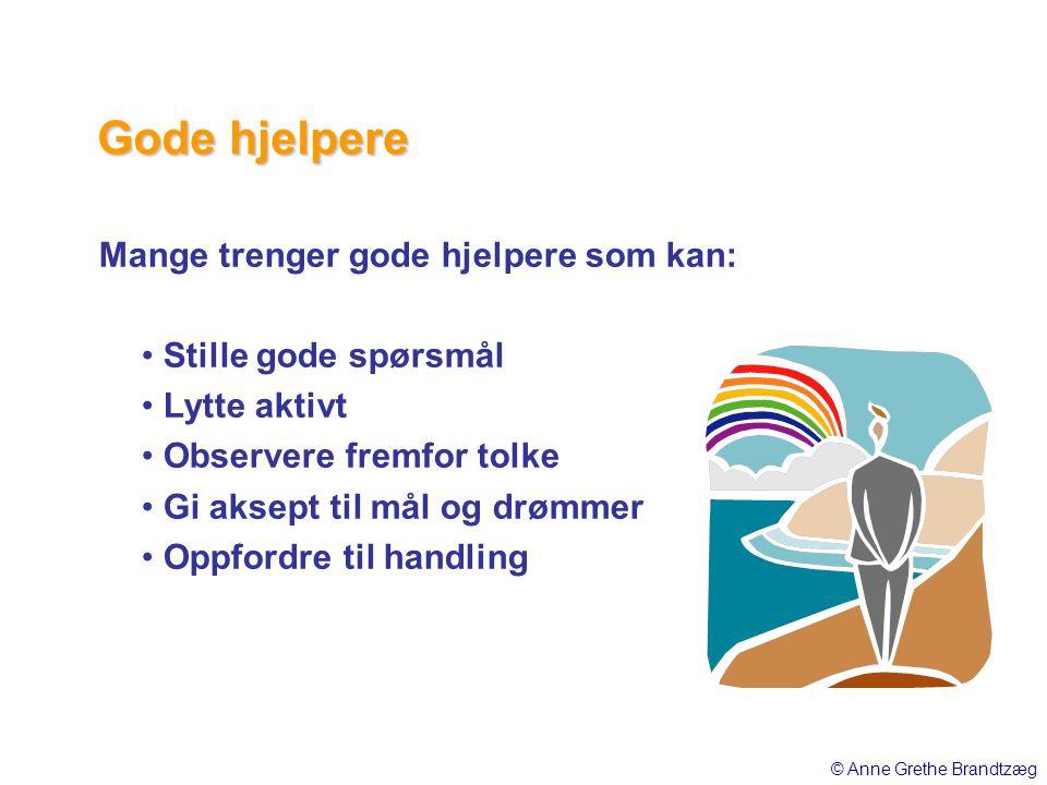 Mange trenger gode hjelpere som kan: • Stille gode spørsmål • Lytte aktivt • Observere fremfor tolke • Gi aksept til mål og drømmer • Oppfordre til ha