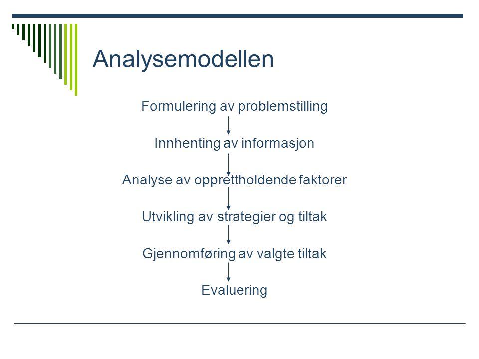 Analysemodellen Formulering av problemstilling Innhenting av informasjon Analyse av opprettholdende faktorer Utvikling av strategier og tiltak Gjennomføring av valgte tiltak Evaluering