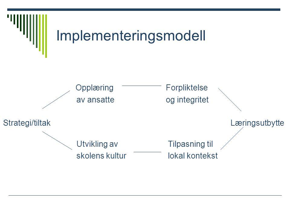 Implementeringsmodell Opplæring Forpliktelse av ansatte og integritet Strategi/tiltak Læringsutbytte Utvikling av Tilpasning til skolens kultur lokal kontekst