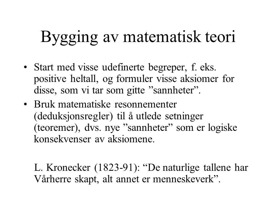 Bygging av matematisk teori •Start med visse udefinerte begreper, f. eks. positive heltall, og formuler visse aksiomer for disse, som vi tar som gitte