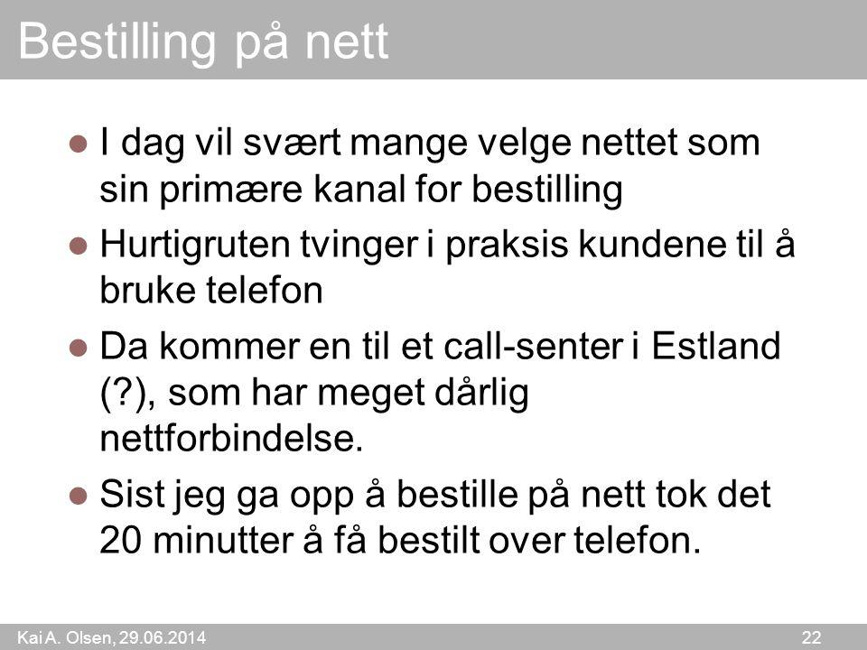 Kai A. Olsen, 29.06.2014 22 Bestilling på nett  I dag vil svært mange velge nettet som sin primære kanal for bestilling  Hurtigruten tvinger i praks