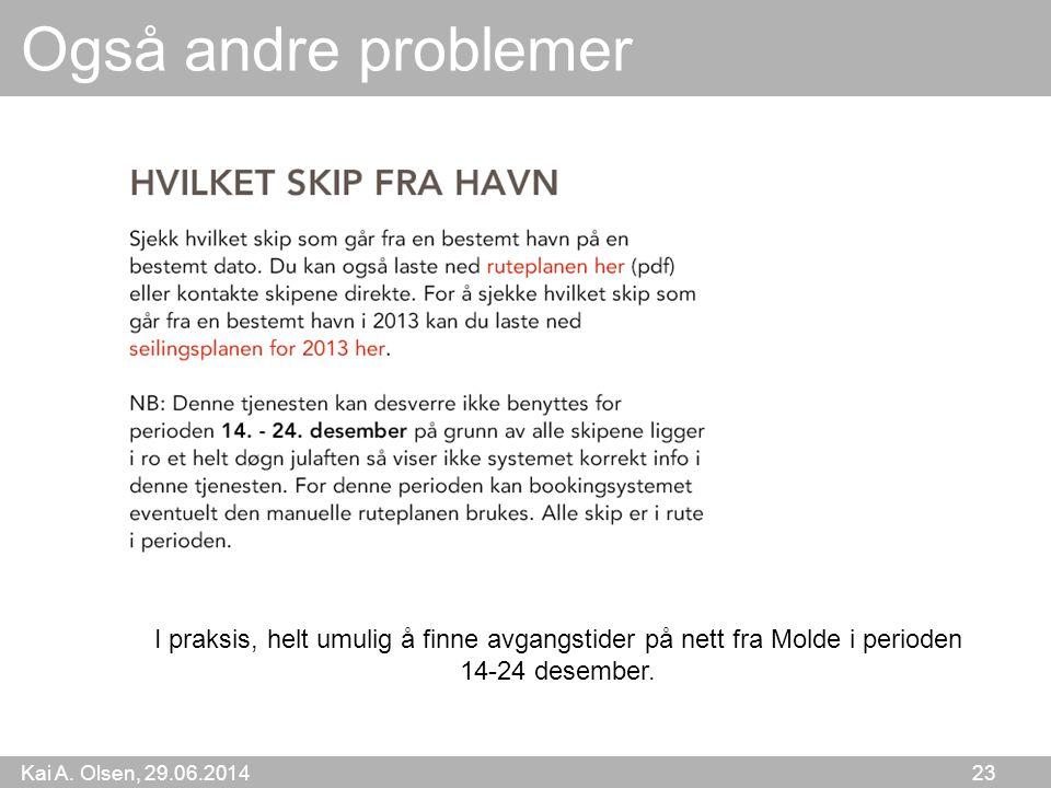 Kai A. Olsen, 29.06.2014 23 Også andre problemer I praksis, helt umulig å finne avgangstider på nett fra Molde i perioden 14-24 desember.