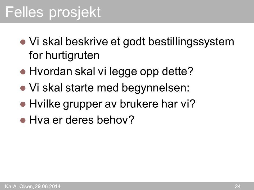 Kai A. Olsen, 29.06.2014 24 Felles prosjekt  Vi skal beskrive et godt bestillingssystem for hurtigruten  Hvordan skal vi legge opp dette?  Vi skal