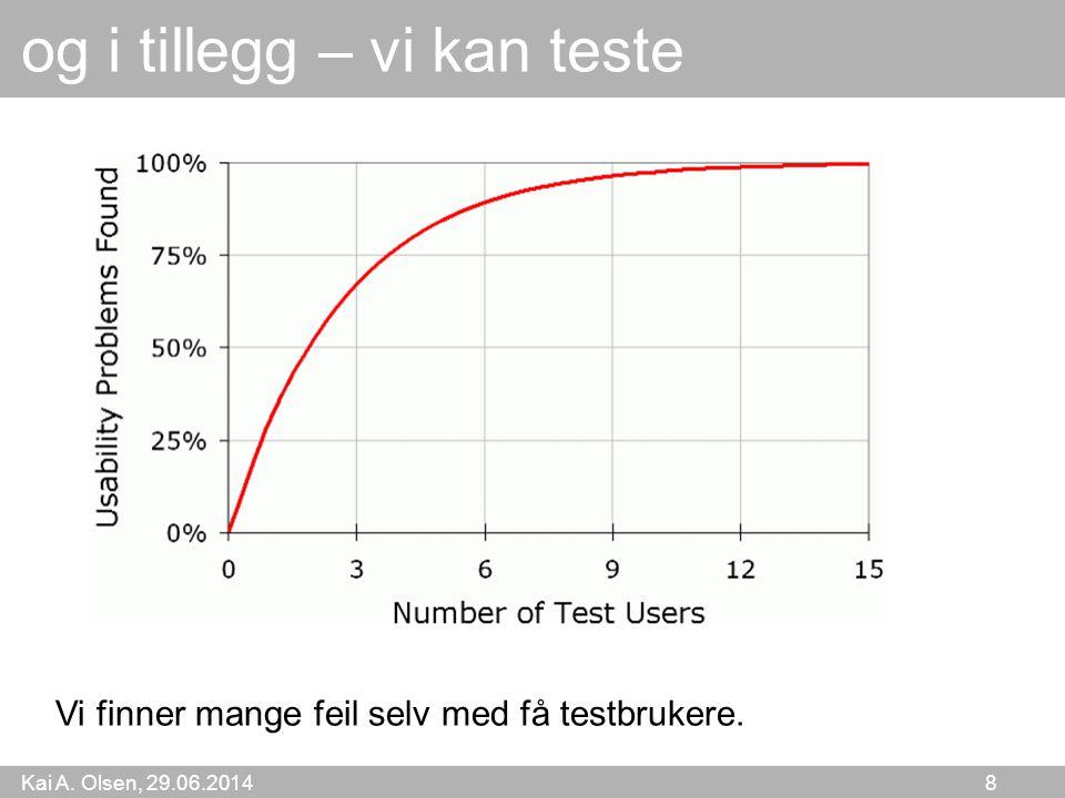 Kai A. Olsen, 29.06.2014 8 og i tillegg – vi kan teste Vi finner mange feil selv med få testbrukere.