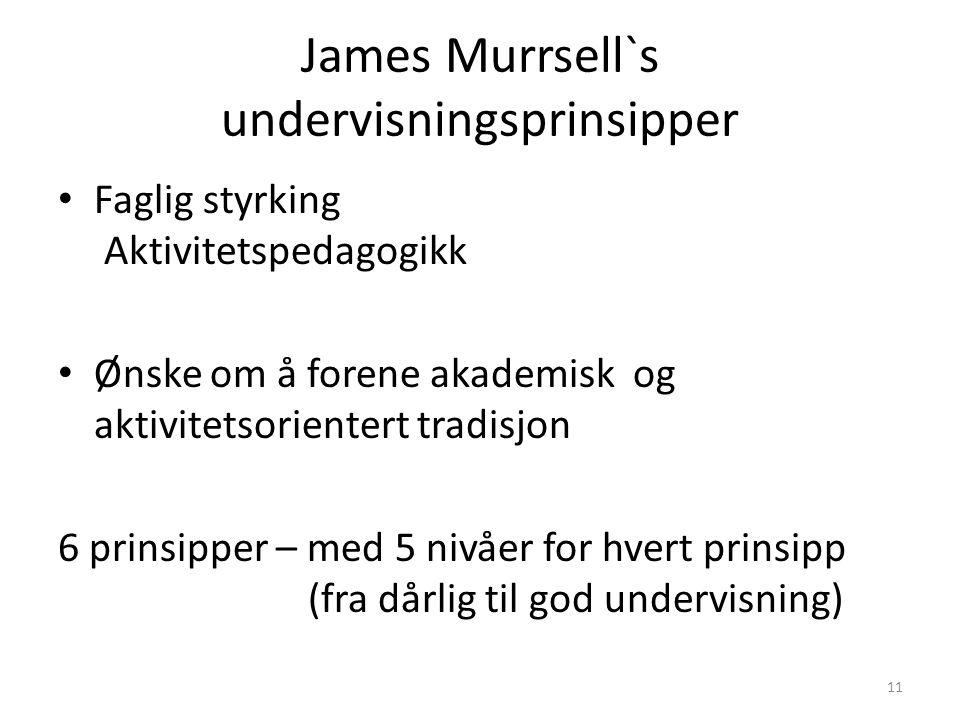 James Murrsell`s undervisningsprinsipper • Faglig styrking Aktivitetspedagogikk • Ønske om å forene akademisk og aktivitetsorientert tradisjon 6 prinsipper – med 5 nivåer for hvert prinsipp (fra dårlig til god undervisning) 11
