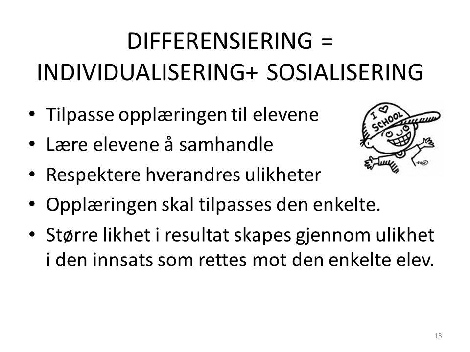 DIFFERENSIERING = INDIVIDUALISERING+ SOSIALISERING • Tilpasse opplæringen til elevene • Lære elevene å samhandle • Respektere hverandres ulikheter • Opplæringen skal tilpasses den enkelte.