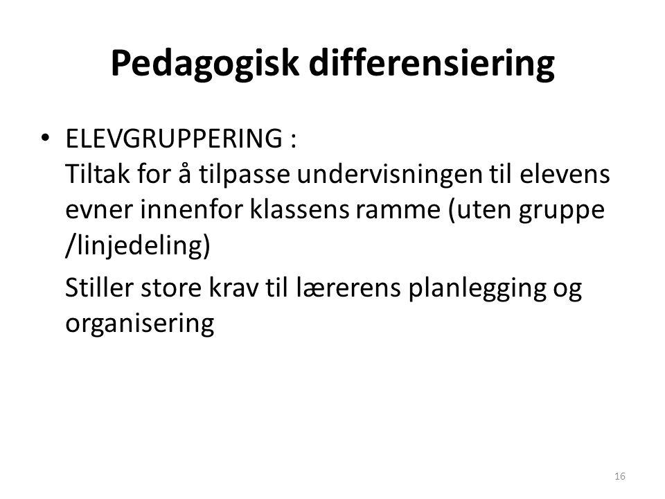 Pedagogisk differensiering • ELEVGRUPPERING : Tiltak for å tilpasse undervisningen til elevens evner innenfor klassens ramme (uten gruppe /linjedeling) Stiller store krav til lærerens planlegging og organisering 16