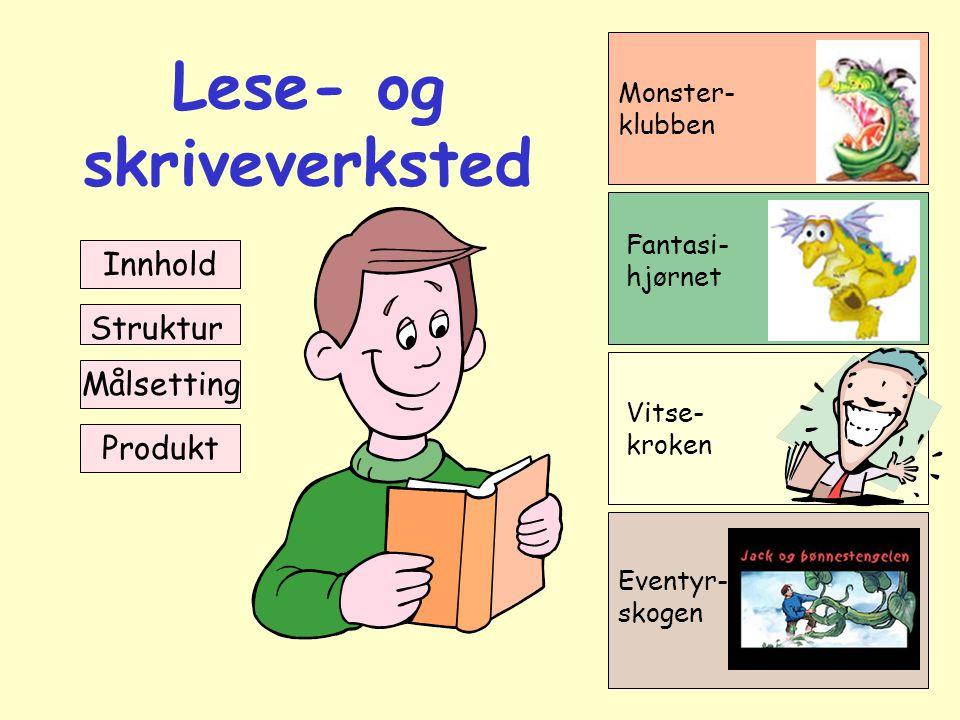 Lese- og skriveverksted Innhold Struktur Målsetting Monster- klubben Fantasi- hjørnet Vitse- kroken Eventyr- skogen Produkt