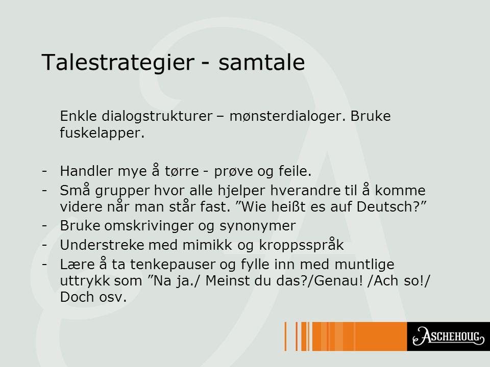 Talestrategier - samtale Enkle dialogstrukturer – mønsterdialoger.