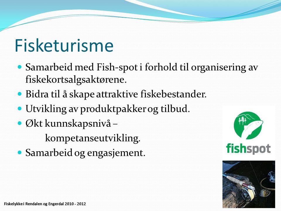 Fisketurisme  Samarbeid med Fish-spot i forhold til organisering av fiskekortsalgsaktørene.  Bidra til å skape attraktive fiskebestander.  Utviklin
