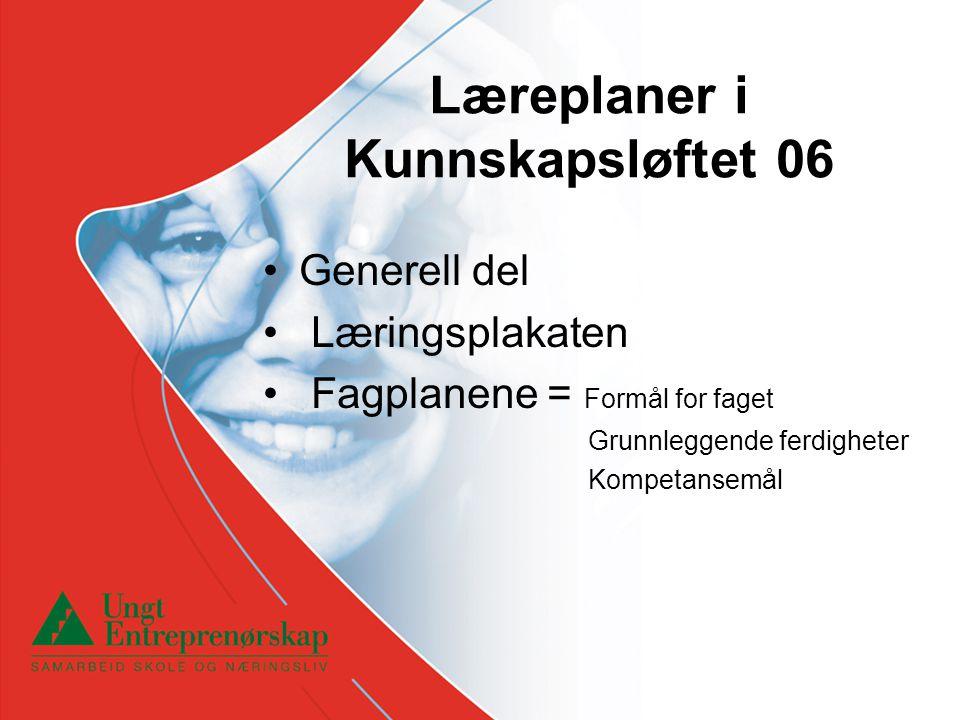 Læreplaner i Kunnskapsløftet 06 •Generell del • Læringsplakaten • Fagplanene = Formål for faget Grunnleggende ferdigheter Kompetansemål