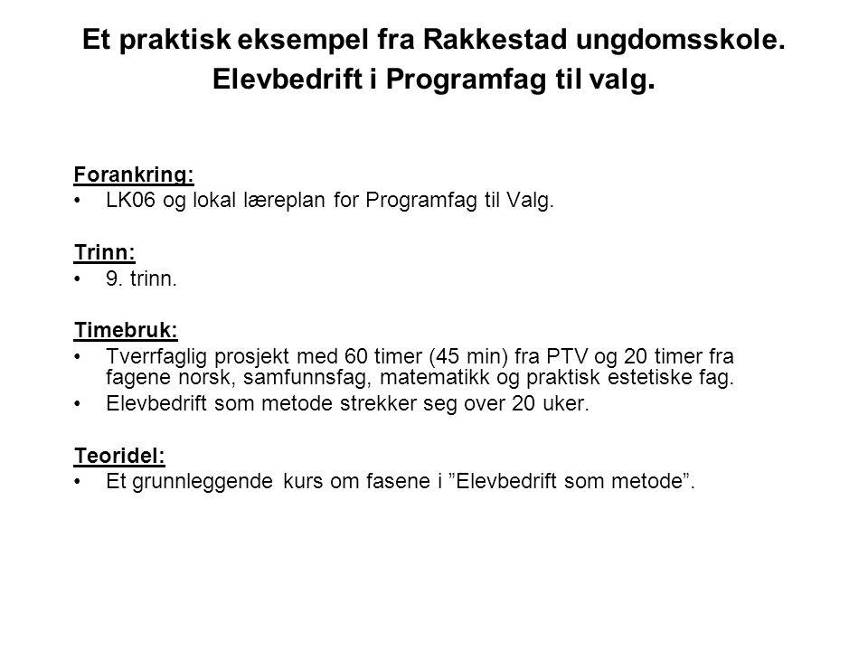 Et praktisk eksempel fra Rakkestad ungdomsskole. Elevbedrift i Programfag til valg. Forankring: •LK06 og lokal læreplan for Programfag til Valg. Trinn