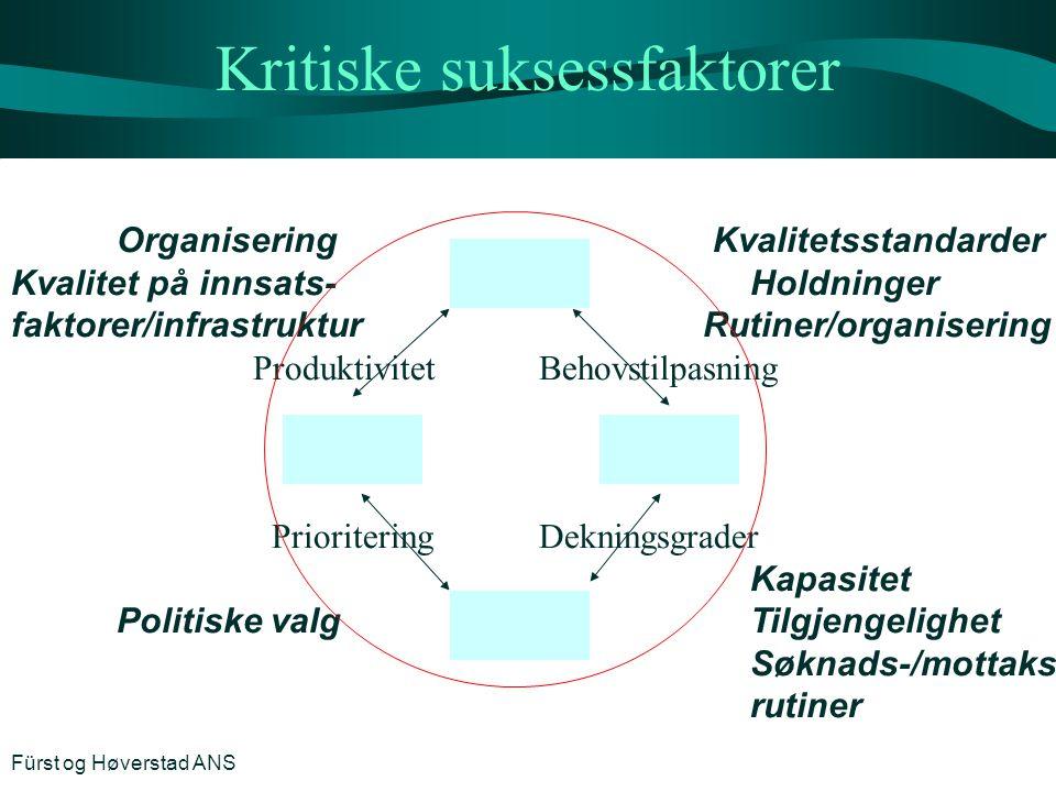 Kritiske suksessfaktorer Organisering Kvalitetsstandarder Kvalitet på innsats-Holdninger faktorer/infrastruktur Rutiner/organisering ProduktivitetBeho