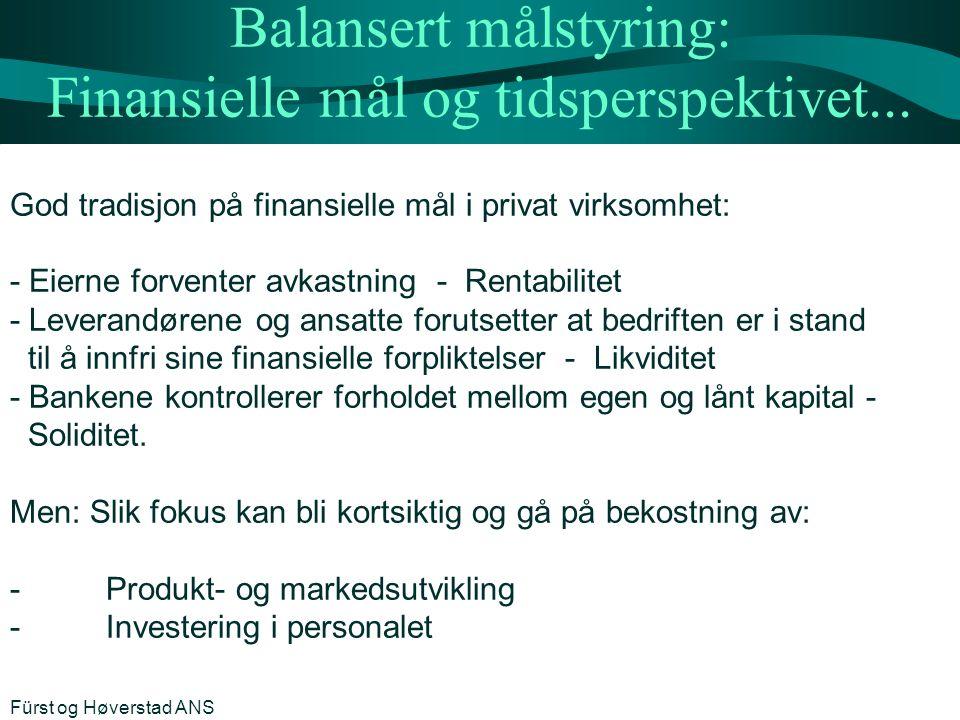 Balansert målstyring: Finansielle mål og tidsperspektivet... God tradisjon på finansielle mål i privat virksomhet: - Eierne forventer avkastning - Ren