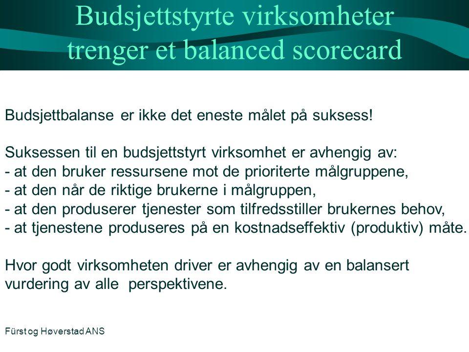 Budsjettstyrte virksomheter trenger et balanced scorecard Budsjettbalanse er ikke det eneste målet på suksess! Suksessen til en budsjettstyrt virksomh
