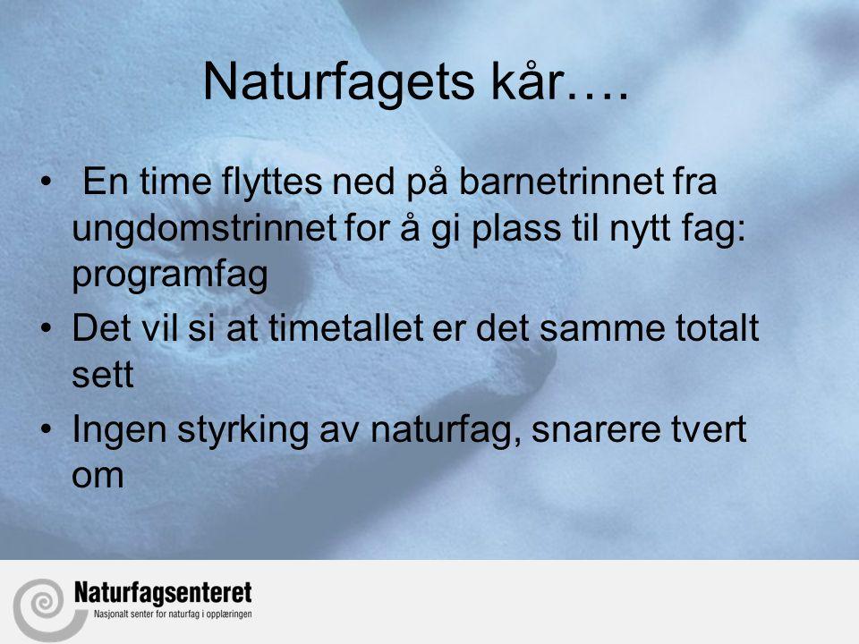 Naturfagets kår….