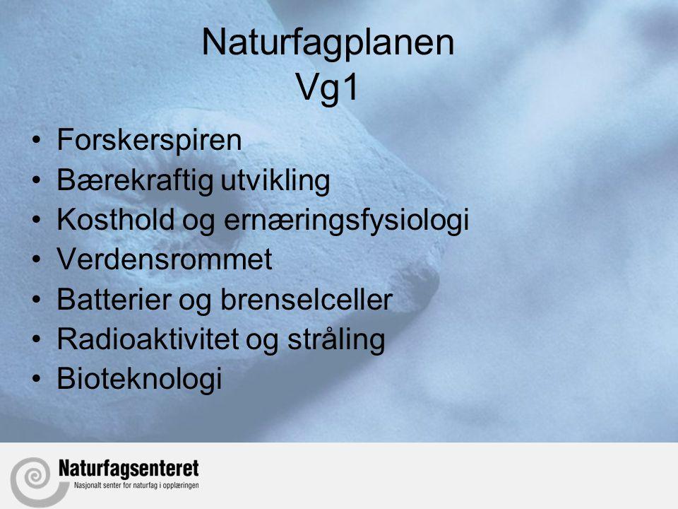 Naturfagplanen Vg1 •Forskerspiren •Bærekraftig utvikling •Kosthold og ernæringsfysiologi •Verdensrommet •Batterier og brenselceller •Radioaktivitet og stråling •Bioteknologi