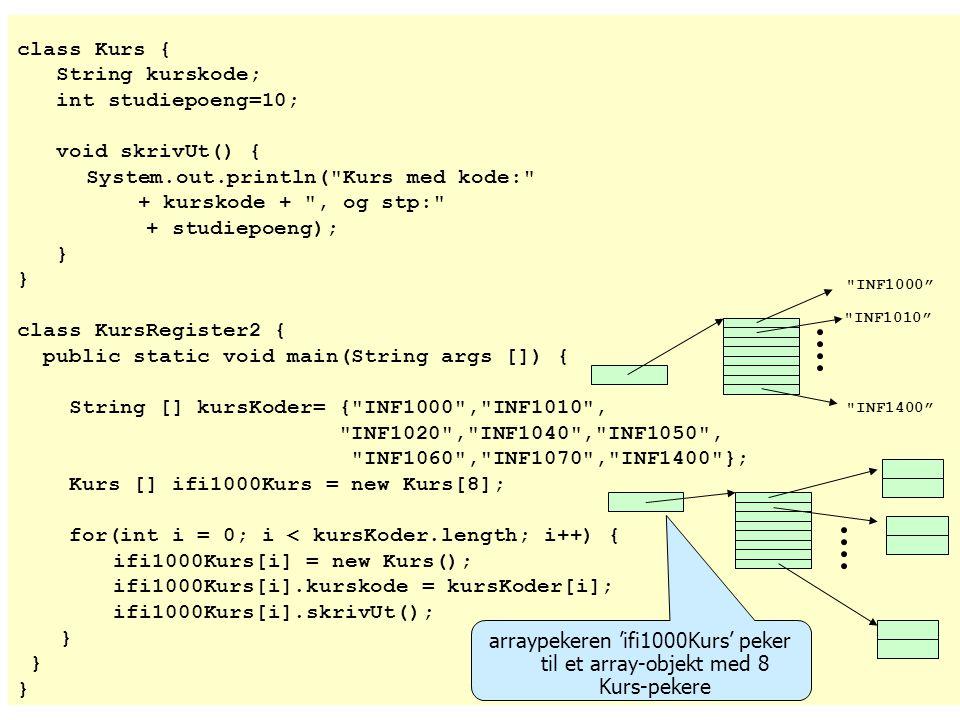 class Kurs { String kurskode; int studiepoeng=10; void skrivUt() { System.out.println(