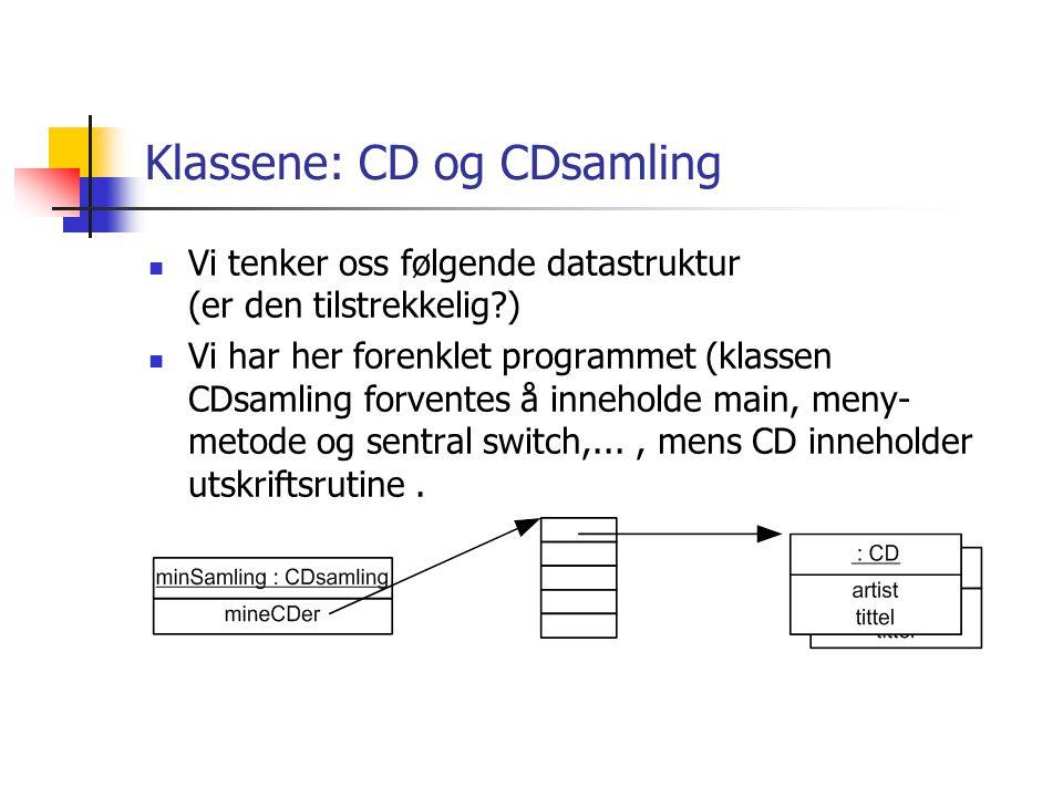 Klassene: CD og CDsamling  Vi tenker oss følgende datastruktur (er den tilstrekkelig?)  Vi har her forenklet programmet (klassen CDsamling forventes