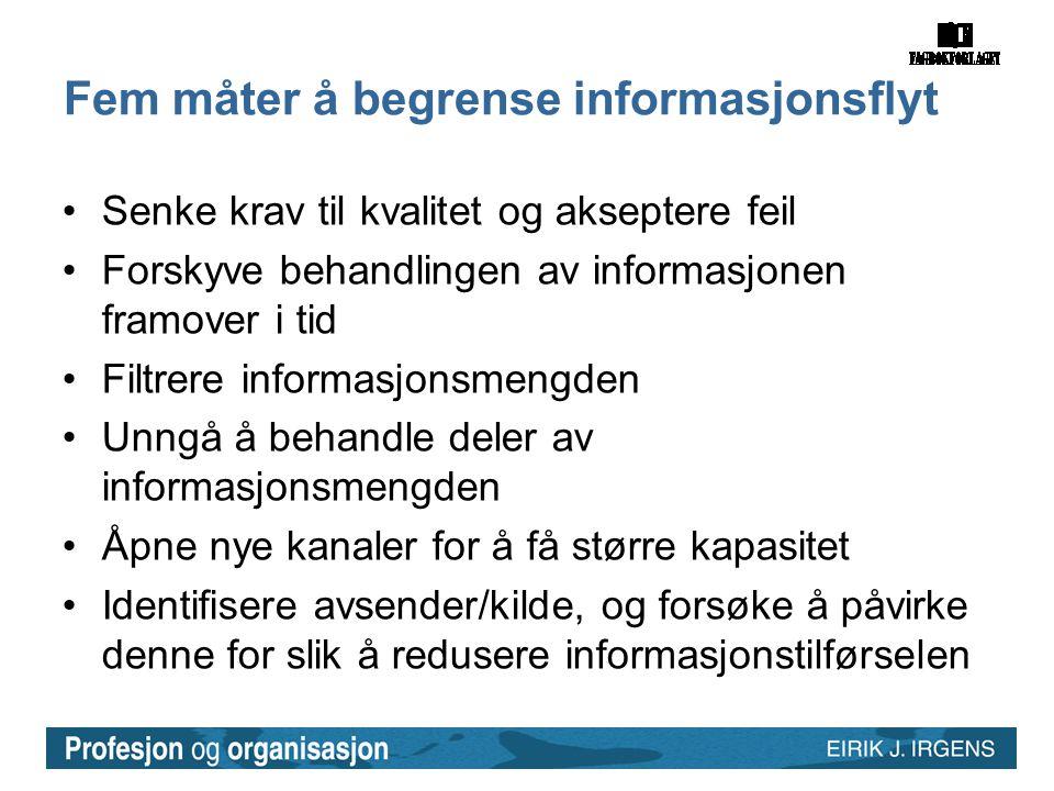 Fem måter å begrense informasjonsflyt •Senke krav til kvalitet og akseptere feil •Forskyve behandlingen av informasjonen framover i tid •Filtrere info