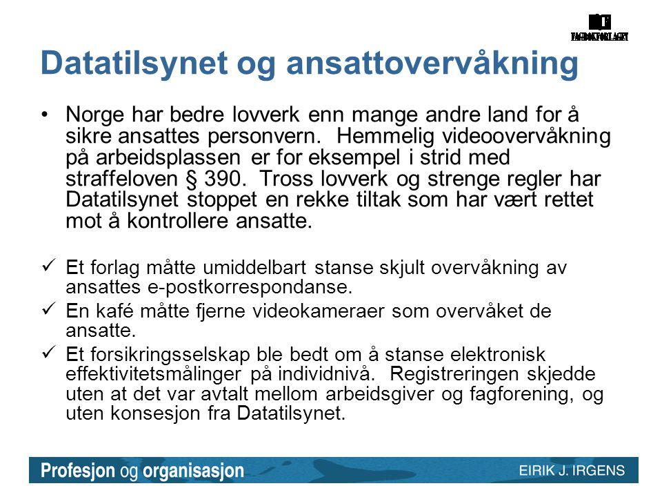 Datatilsynet og ansattovervåkning •Norge har bedre lovverk enn mange andre land for å sikre ansattes personvern. Hemmelig videoovervåkning på arbeidsp