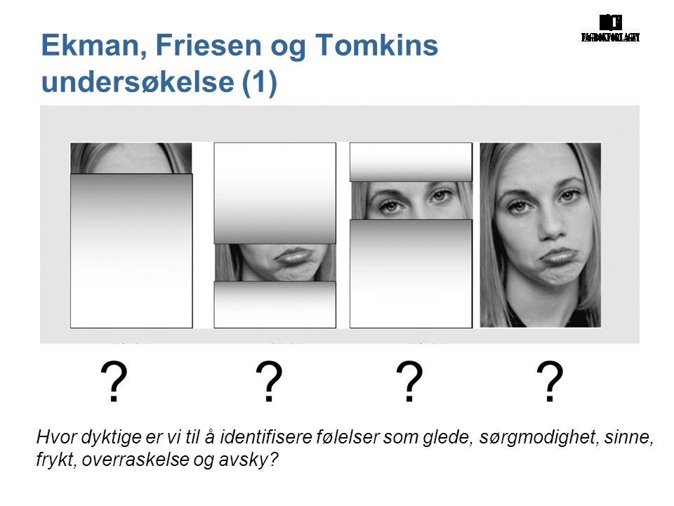 Figur 54. Når ansiktet forteller ? ? ? ? Hvor dyktige er vi til å identifisere følelser som glede, sørgmodighet, sinne, frykt, overraskelse og avsky?