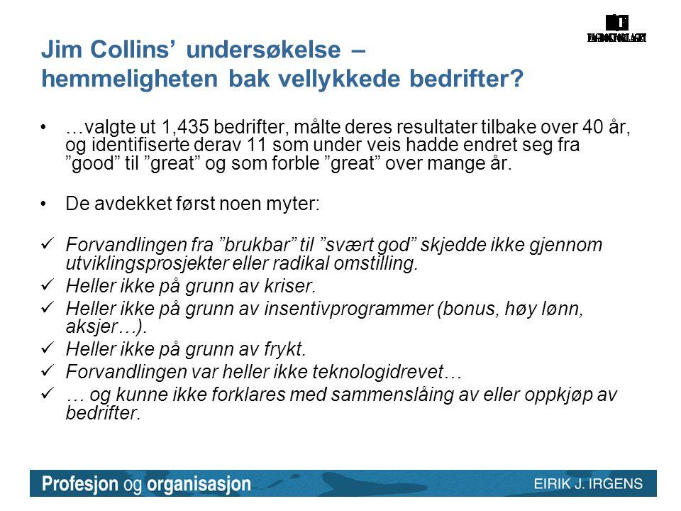 Jim Collins' undersøkelse – hemmeligheten bak vellykkede bedrifter? •…valgte ut 1,435 bedrifter, målte deres resultater tilbake over 40 år, og identif