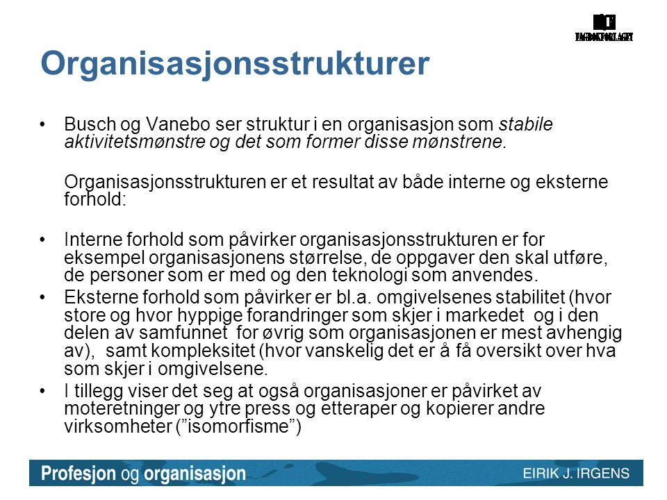 Organisasjonsstrukturer •Busch og Vanebo ser struktur i en organisasjon som stabile aktivitetsmønstre og det som former disse mønstrene. Organisasjons