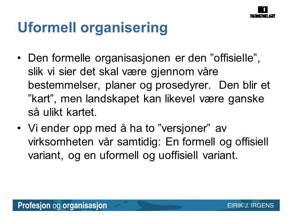 Uformell organisering •Den formelle organisasjonen er den offisielle , slik vi sier det skal være gjennom våre bestemmelser, planer og prosedyrer.